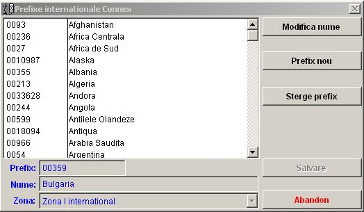 office teltax meniu prefixe internationale